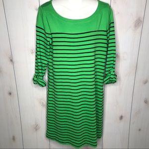 Jones New York Green Striped Boat Neck Shift Dress